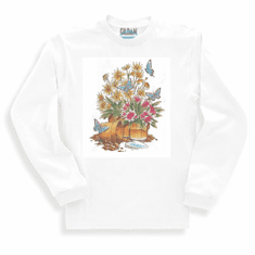 Country Decorative flower pots potted plants butterflies long sleeve tshirt sweatshirt