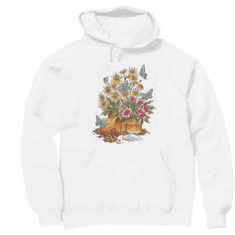 Country Decorative flower pots potted plants butterflies pullover hoodie hooded sweatshirt