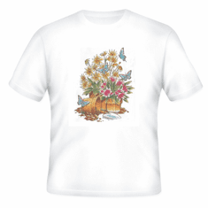 Country Decorative flower pots potted plants butterflies tshirt shirt