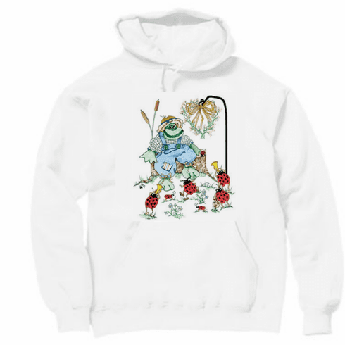 Country Decorative frog lady bugs pullover hoodie hooded sweatshirt