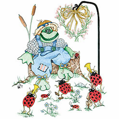 Country Decorative frog lady bugs tshirt shirt