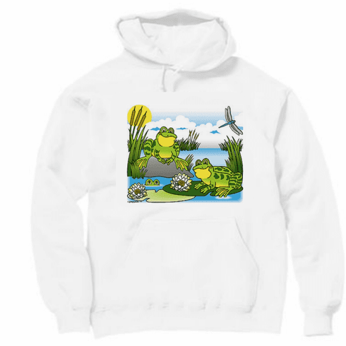 Country Decorative frog lily pad pond scene pullover hoodie hooded sweatshirt