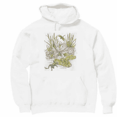 Country Decorative frogs on lily pad pullover hoodie hooded sweatshirt