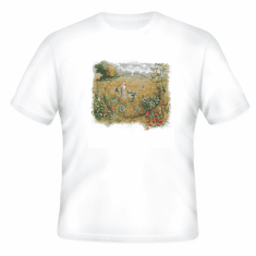 Country Decorative girl dog field tshirt shirt