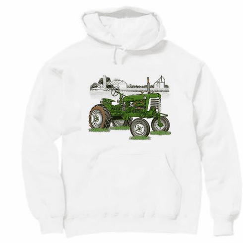 Country Decorative green tractor farm scene pullover hoodie hooded sweatshirt