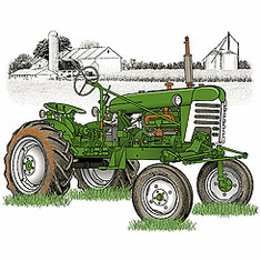 Country Decorative green tractor farm scene tshirt shirt