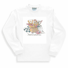 Country Decorative happiness is home sewn teddy bear basket flowers long sleeve tshirt sweatshirt