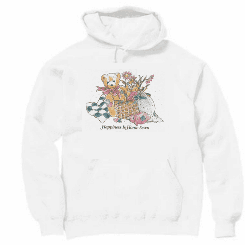 Country Decorative happiness is home sewn teddy bear basket flowers pullover hoodie hooded sweatshirt
