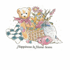 Country Decorative happiness is home sewn teddy bear basket flowers tshirt shirt