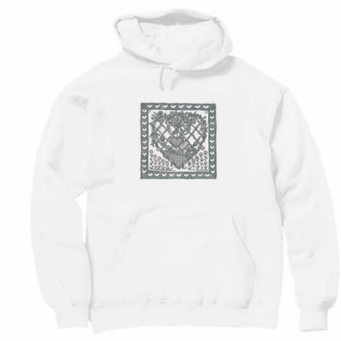 Country Decorative heart flower basket pullover hoodie hooded sweatshirt