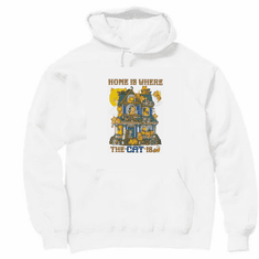Country Decorative Home is where the cat is pullover hoodie hooded sweatshirt
