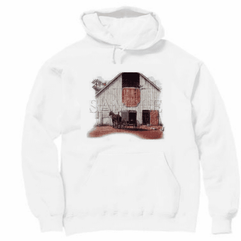 Country Decorative horse amish buggy barn scene pullover hoodie hooded sweatshirt