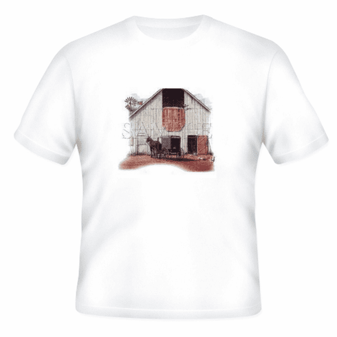 Country Decorative horse amish buggy barn scene tshirt shirt