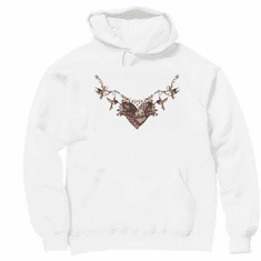 Country Decorative hummingbird heart necklace pullover hoodie hooded sweatshirt