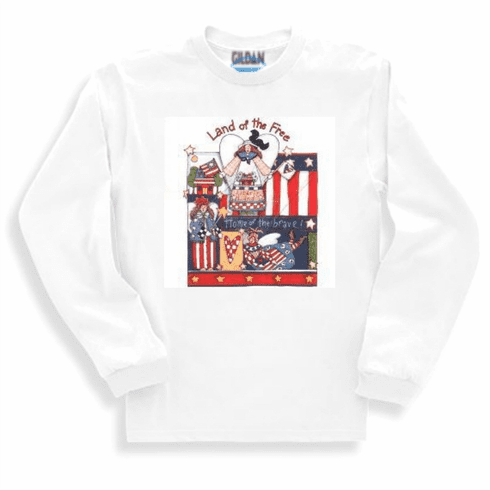 Country Decorative Land of the free home of the brave patriotic long sleeve tshirt sweatshirt