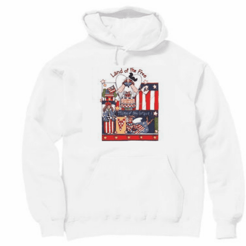 Country Decorative Land of the free home of the brave patriotic pullover hoodie hooded sweatshirt