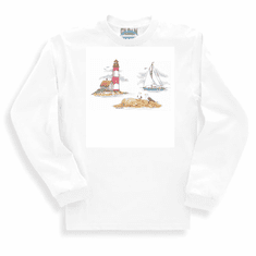 Country Decorative Lighthouse sail boat long sleeve tshirt sweatshirt