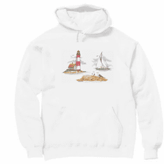 Country Decorative Lighthouse sail boat pullover hoodie hooded sweatshirt