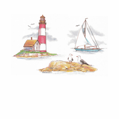 Country Decorative Lighthouse sail boat tshirt shirt
