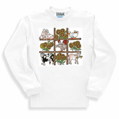 Country Decorative long sleeve T-shirt or sweatshirt farm country animals pig cow horse chicken ducks