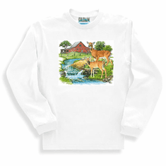 country decorative long sleeve t-shirt or sweatshirt farm scene barn creek deer doe wildlife