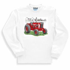 country decorative long sleeve t-shirt or sweatshirt TRACTOR red farm farmer farming