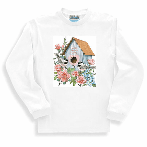 country decorative long sleeve t-shirt sweatshirt Birdhouse bird house home sweet home birds rose flowers