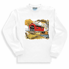 country decorative long sleeve t-shirt sweatshirt covered bridge fall autumn