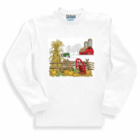 country decorative long sleeve t-shirt sweatshirt farm farmer farming fall autumn tractor barn