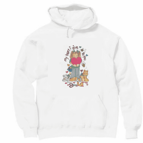 Country Decorative My heart I give to you cat kitten pullover hoodie hooded  sweatshirt