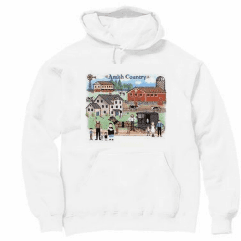 country decorative pullover hooded hoodie sweatshirt Amish country community horse buggy farm