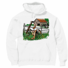 country decorative pullover hooded hoodie sweatshirt antique barn farm farmer farming tractor