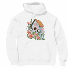 country decorative pullover hooded hoodie sweatshirt Birdhouse bird house home sweet home birds rose flowers