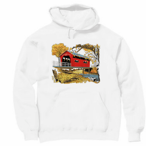 country decorative pullover hooded hoodie sweatshirt covered bridge fall autumn