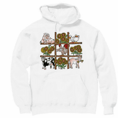 Country Decorative pullover hooded hoodie sweatshirt farm country animals pig cow horse chicken ducks