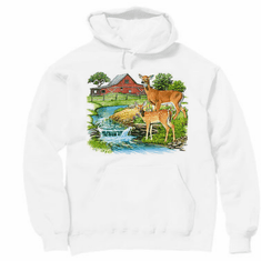 country decorative pullover hooded hoodie sweatshirt farm scene barn creek deer doe wildlife