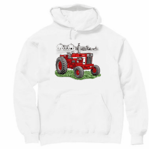 country decorative pullover hooded hoodie sweatshirt TRACTOR red farm farmer farming