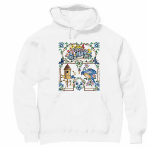 Country Decorative pullover hooded hoodie sweetshirt Birdhouse bird house birds flowers