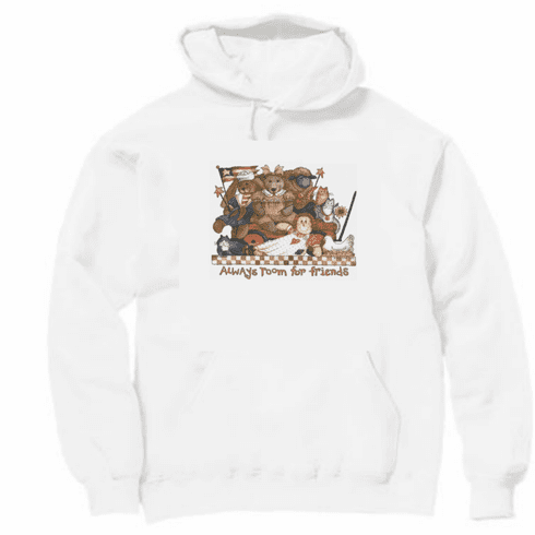 Country Decorative pullover hoodie hooded sweatshirt teddy bears rabbits kitty cats dolls Always room for friends