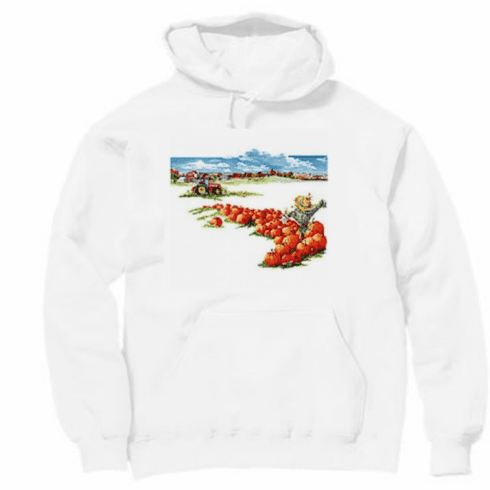 Country Decorative pumpkins farm tractor scare crow scarecrow pullover hoodie hooded sweatshirt