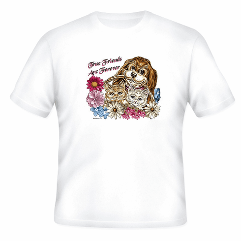 Country Decorative Puppy Dog Kitty Kitten cat flowers True friends are forever tshirt shirt