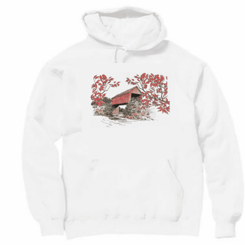 Country Decorative red covered bridge pullover hoodie hooded sweatshirt