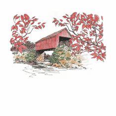 Country Decorative red covered bridge tshirt shirt