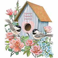 country decorative shirt Birdhouse bird house home sweet home birds rose flowers