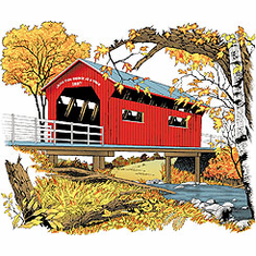country decorative shirt covered bridge fall autumn