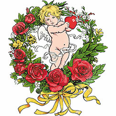 country decorative shirt cupid rose wreath roses flowers