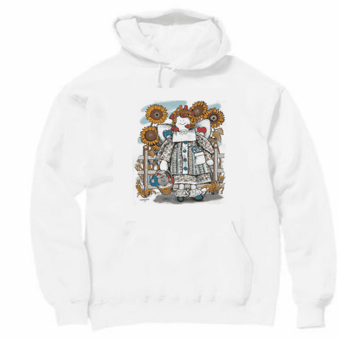 Country Decorative sunflower raggedy doll garden pullover hoodie hooded sweatshirt