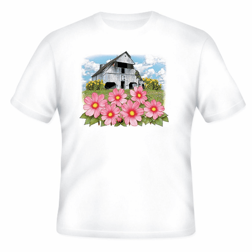 country decorative t-shirt antique barn farm farmer farming flowers