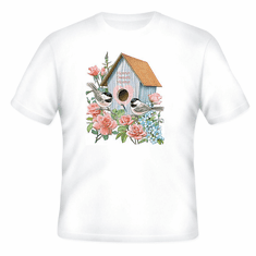 country decorative t-shirt Birdhouse bird house home sweet home birds rose flowers