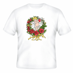 country decorative t-shirt cupid rose wreath roses flowers